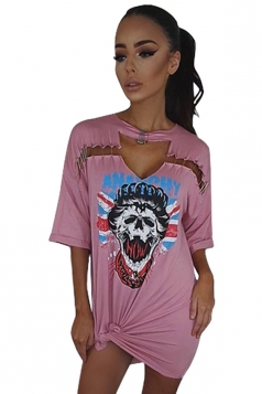 Womens Hollow Out Skull Printed Short Sleeve Mini Shirt Dress Pink