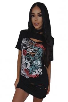 Womens Halter Ripped Rose Skull Printed Short Sleeve Shirt Dress Black