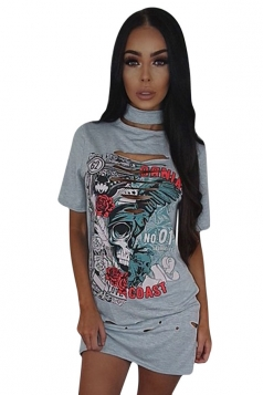 Womens Halter Ripped Rose Skull Printed Short Sleeve Shirt Dress Gray