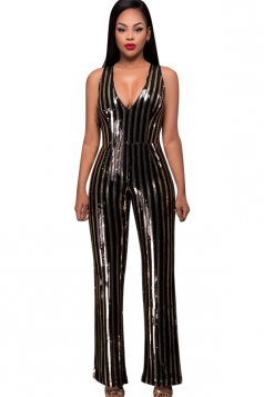 Womens V Neck Mesh Splice Back Striped Sequin Jumpsuit Gold