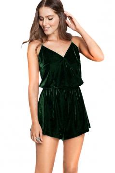 Womens V-neck Spaghetti Straps Tunic Plain Romper Dark Green