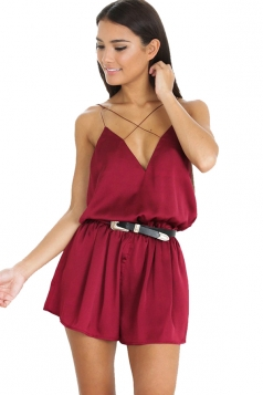 Womens Spaghetti Straps Elastic Waist Backless Romper Ruby