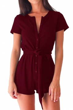 Womens Single-breasted Short Sleeve Plain with Sash Romper Ruby
