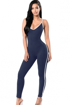 Womens Low-cut Spaghetti Straps Bodycon Catsuit Navy Blue