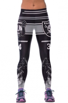 Womens RAIDERS Printed Ankle Length Sports Leggings Gray