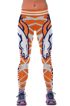 Womens Broncos Printed Ankle Length Sports Leggings Orange