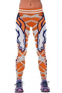Womens Broncos Printed Ankle Length Sports Leggings Orange