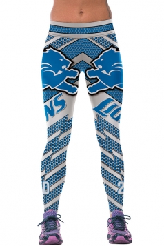 Womens LIONS Printed Ankle Length Sports Leggings Blue