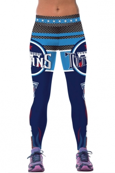 Womens TITANS Printed Ankle Length Sports Leggings Blue