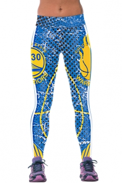 Womens WARRIORS Printed Ankle Length Sports Leggings Blue