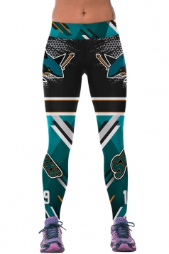 Womens SHARKS Printed Ankle Length Sports Leggings Turquoise