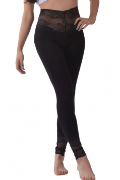 Womens Lace Patchwork High Waist Plain Leggings Black