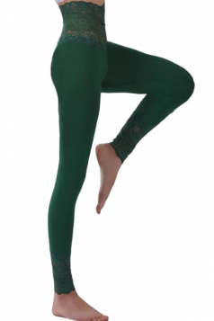 Womens Lace Patchwork High Waist Plain Leggings Dark Green