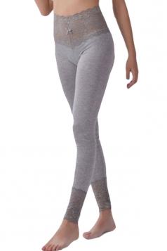 Womens Lace Patchwork High Waist Plain Leggings Gray