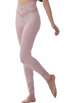 Womens Lace Patchwork High Waist Plain Leggings Pink