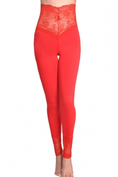 Womens Lace Patchwork High Waist Plain Leggings Red