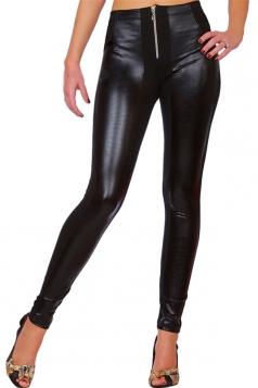 Womens PU Leather Color Block Zipper Ankle-length Leggings Black