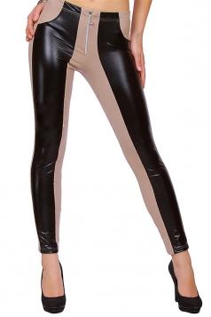 Womens PU Leather Color Block Zipper Ankle-length Leggings Camel