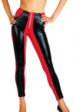 Womens PU Leather Color Block Zipper Ankle-length Leggings Red