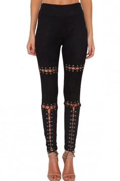 Womens Faux Suede Keyhole Cross Lace-up High Waist Leggings Black