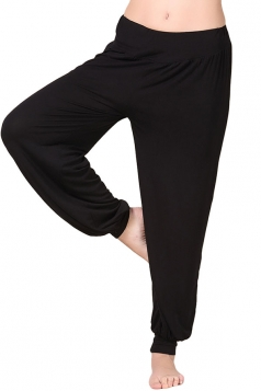 Womens Plain Elastic Waist Leisure Yoga Lantern Pants Black