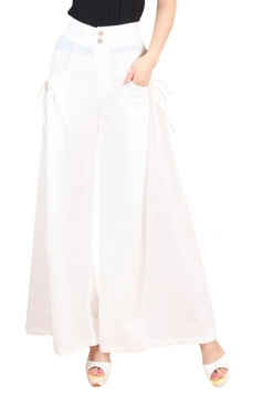 Womens High Waist Plain Leisure Palazzo Pants White