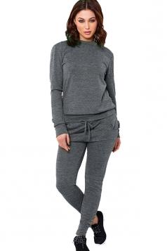 Womens Long Sleeve Drawstring-waist Leisure Pants Suit Dark Gray