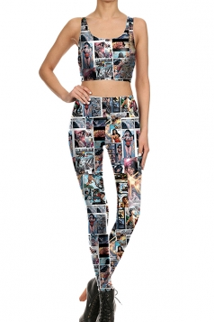Womens Crop Tank Top&Comic Printed High Waist Pants Suit Turquoise