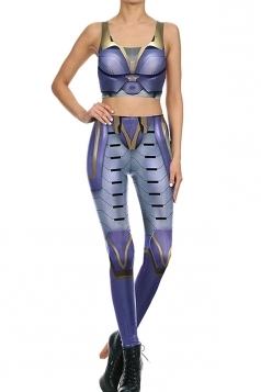 Womens Crop Tank Top&Armour Printed High Waist Pants Suit Purple
