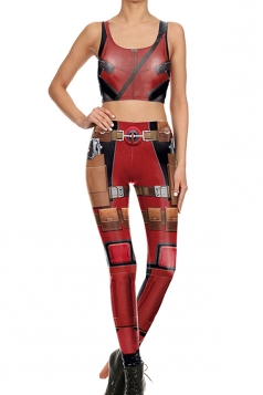Womens Armour Printed Crop Top&High Waist Sports Pants Suit Ruby