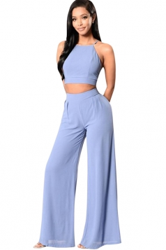Womens Plain Sleeveless Backless Top&Palazzo Pants Suit Blue