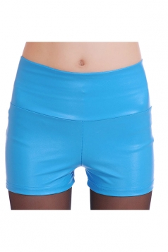 Womens High Waist PU Leather Plain Shorts Blue