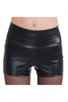 Womens High Waist PU Leather Plain Shorts Black