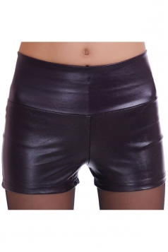 Womens High Waist PU Leather Plain Shorts Dark Purple