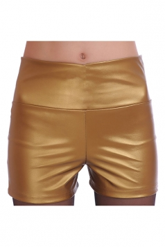 Womens High Waist PU Leather Plain Shorts Gold