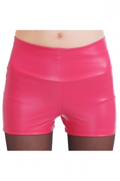 Womens High Waist PU Leather Plain Shorts Rose Red