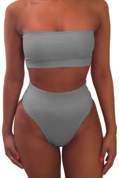 Womens Sexy Plain Bandeau Top&High Waist Bottom Bikini Set Gray