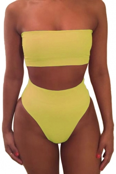 Womens Sexy Plain Bandeau Top&High Waist Bottom Bikini Set Yellow