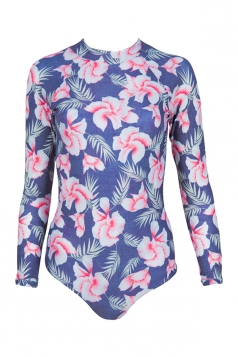 Womens Zip-up Floral Printed Long Sleeve One Piece Swimsuit Navy Blue