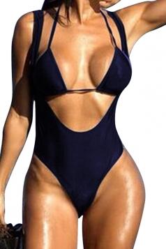 Womens Two-piece Plain Halter Cut Out Monokini Navy Blue