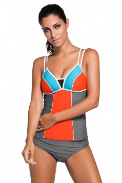 Womens Lace Splice Color Block 2pcs Tankini Swimsuit Gray