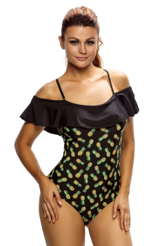 Womens Cold Shoulder Pineapple Printed Ruffle One-piece Swimwear Black
