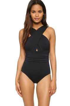 Womens Cross Bandage Cut Out Draped Plain One Piece Swimsuit Black