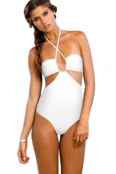 Womens Bandeau Halter Cut Out Backless One Piece Swimsuit White