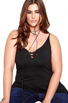 Womens Plus Size V-neck Plain Sleeveless Camisole Top Black