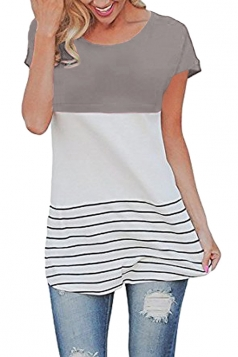 Womens Striped Lace Patchwork Back Short Sleeve T Shirt Gray