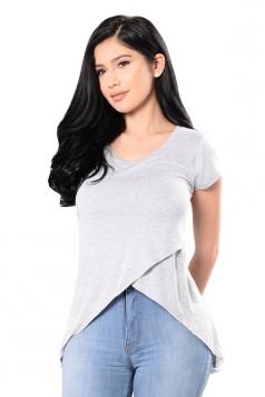 Womens Round Neck High Low Asymmetric Short Sleeve T Shirt Light Gray