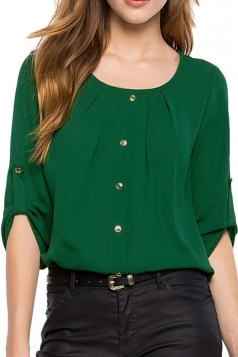 Womens Crew Neck 3/4 Length Sleeve Chiffon Blouse Green