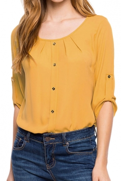 Womens Crew Neck 3/4 Length Sleeve Chiffon Blouse Yellow