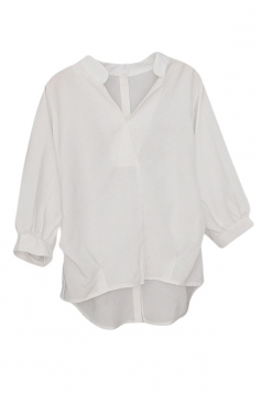 Womens V-neck 3/4 Length Sleeve Loose High Low Blouse White